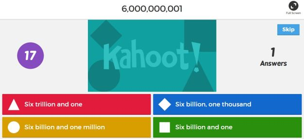 Kahoot game for the classroom