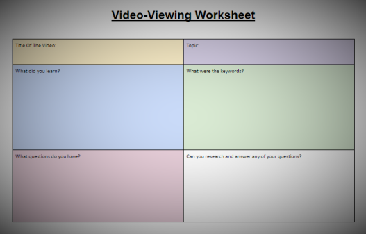 Video-viewing worksheet