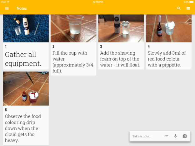 Google Keep to write up a science investigation