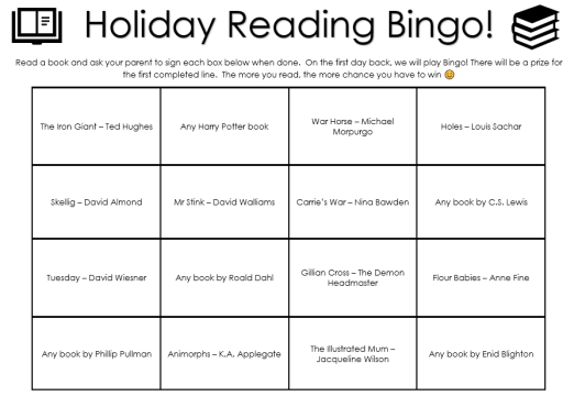 Holiday reading bingo