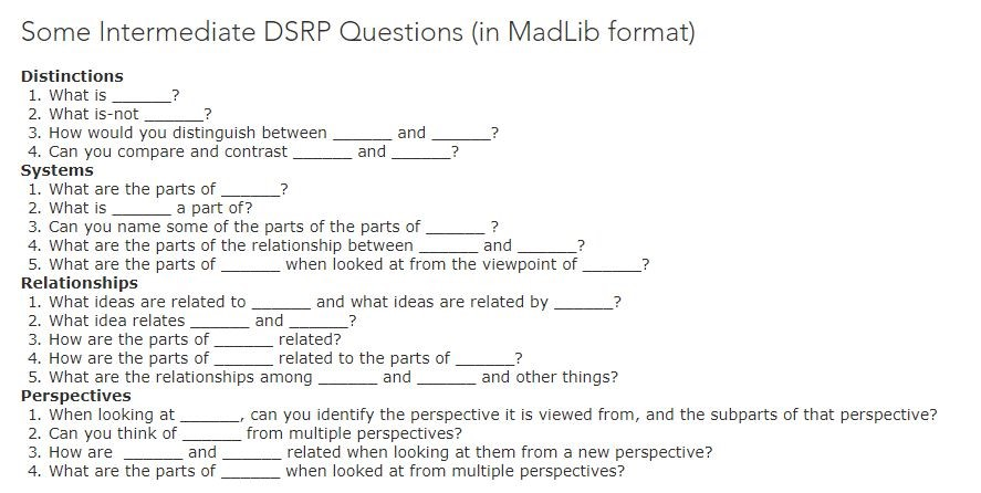 4 - Swarming the classroom - DSRP guiding questions